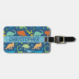 Colorful Dinosaurs to Personalize and Phone Number Luggage Tag