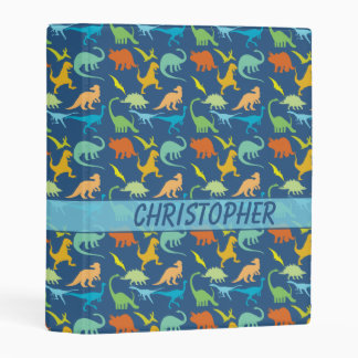 Colorful Dinosaurs to Personalize Mini Binder