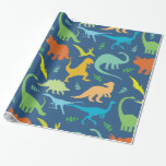 Colorful Dinosaurs Wrapping Paper at Zazzle