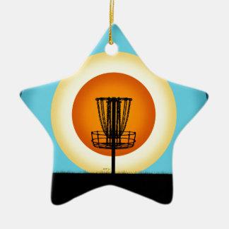 Colorful Disc Golf Basket Ceramic Ornament
