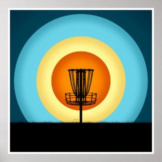 Colorful Disc Golf Basket Poster