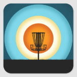 Colorful Disc Golf Basket Square Sticker