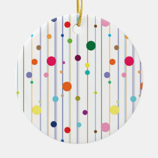 Colorful Disco Circle Pattern Double-Sided Ceramic Round Christmas Ornament