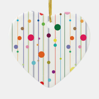 Colorful Disco Circle Pattern Double-Sided Heart Ceramic Christmas Ornament