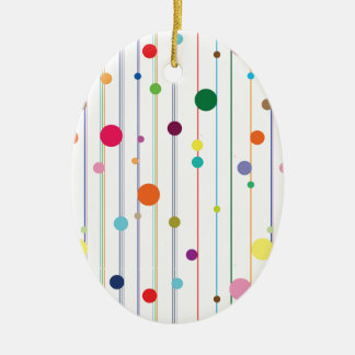 Colorful Disco Circle Pattern Double-Sided Oval Ceramic Christmas Ornament