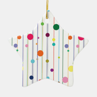 Colorful Disco Circle Pattern Double-Sided Star Ceramic Christmas Ornament