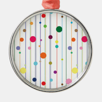 Colorful Disco Circle Pattern Round Metal Christmas Ornament