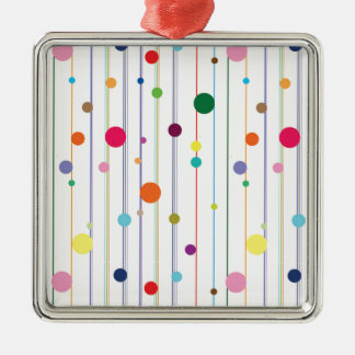 Colorful Disco Circle Pattern Square Metal Christmas Ornament