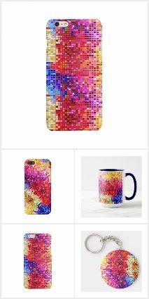 Colorful disco glitter geometric pattern
