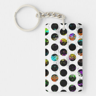 Colorful Distressed Polkadots Keychain