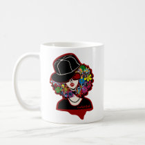 girl, diva, illustration, pop, funny, cute, cool, vintage, music, club, street, stylish, monotone, hip-hop, rap, house-music, techno, female, hip hop, house music, graphic, design, lady, colorful, urban, rock, flower, band, butterfly, cap, Caneca com design gráfico personalizado