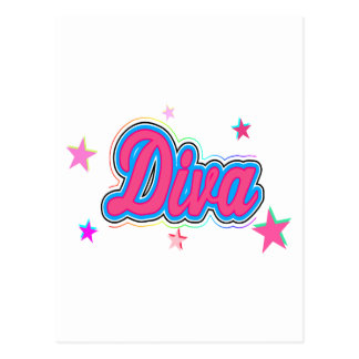 Colorful Diva Graffiti Art Postcard