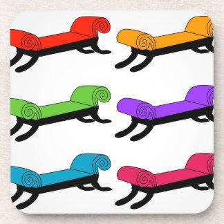 Colorful divans beverage coaster