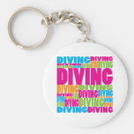 Colorful Diving Basic Round Button Keychain