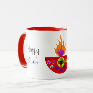 Colorful Diwali Lamp Diya Mug