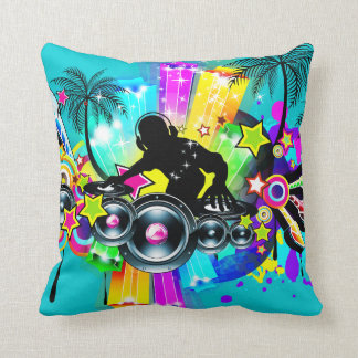 Colorful DJ Music Scene Illustration Throw Pillow
