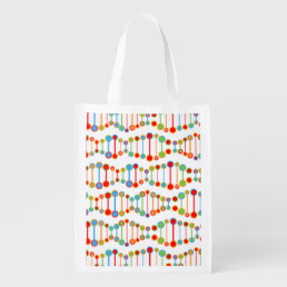 Colorful DNA structure pattern Grocery Bag