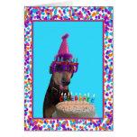 Colorful Doberman Birthday Celebration Cake Greeting Cards