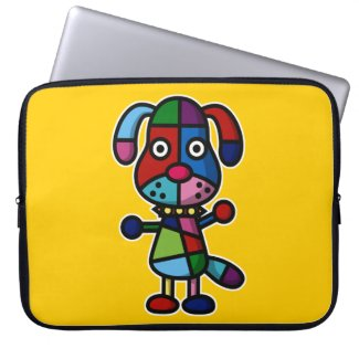 colorful dog computer sleeves