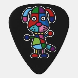 colorful dog guitar pick
