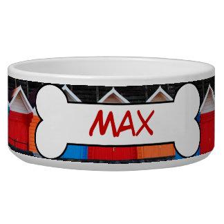 Colorful Dog Houses Personalized Ceramic Dog Bowl