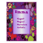 Colorful Dog Paw Any Name Wall Art Poster
