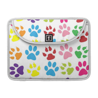 Colorful Dog Pawprints on White, Macbook Sleeve