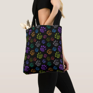 1811360ac6 Colorful Dog Paws All-Over-Print Tote Bag
