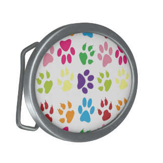 Colorful Dog Paws Oval Belt Buckle