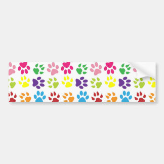 Colorful Dog Paws Bumper Sticker