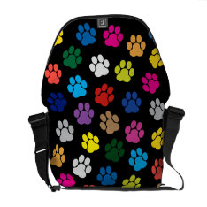 Colorful Dog Paws Messenger Bag at Zazzle