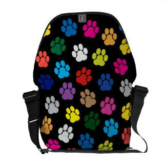 Colorful Dog Paws Messenger Bag