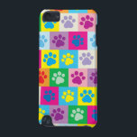 "Colorful Dog Paws Patchwork Pattern iPod Touch 5G Case<br><div class=""desc"">This doggy design features a multicolored patchwork of squares, each of which contains a paw print in a variety of different colors. This colorful checkerboard patterned case is a great way for dog lovers, or anyone looking for something a little quirky, to really make their phone stand out from the...</div>"