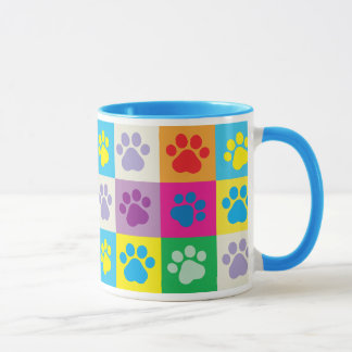 Colorful Dog Paws Patchwork Pattern Mug