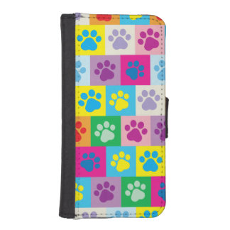 Colorful Dog Paws Patchwork Pattern Wallet Phone Case For iPhone SE/5/5s