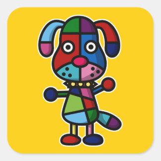 colorful dog square sticker
