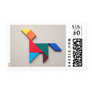 Colorful dog Tangram Postage