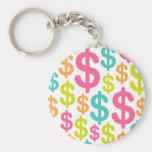 Colorful dollar sign pattern keychain