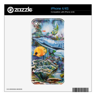 Colorful Dolphin and Tropical Fish iPhone 4 Skins