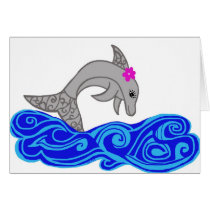 Colorful Dolphin jumping blank cards