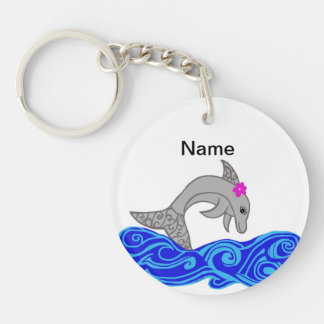 Colorful Dolphin jumping  Key chain add text