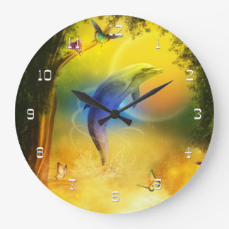 Colorful Dolphin Large Clock