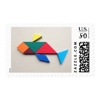 Colorful Dolphin Tangram Postage
