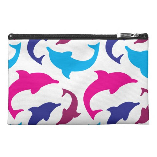 Colorful Dolphins Pattern Hot Pink Teal Blue Travel Accessory Bag
