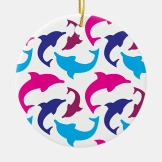 Colorful Dolphins Pattern Hot Pink Teal Blue Ceramic Ornament