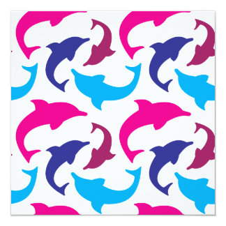 Colorful Dolphins Pattern Hot Pink Teal Blue 5.25x5.25 Square Paper Invitation Card