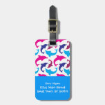 Colorful Dolphins Pattern Hot Pink Teal Blue Luggage Tags