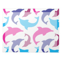 Colorful Dolphins Pattern Hot Pink Teal Blue Notepad