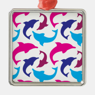 Colorful Dolphins Pattern Hot Pink Teal Blue Christmas Tree Ornaments