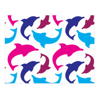 Colorful Dolphins Pattern Hot Pink Teal Blue Postcard